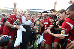 09 December 2012: Indiana players pose with the championship trophy. The Georgetown University Hoyas played the Indiana University Hoosiers at Regions Park Stadium in Hoover, Alabama in the 2012 NCAA Division I Men's Soccer College Cup Final. Indiana won the game 1-0.