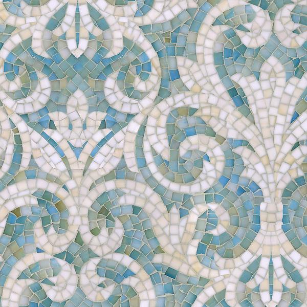 Name: Serena<br /> Style: Classic<br /> Product Number: CB1222SERENA (19&quot;x19&quot;)<br /> Description: Serena jewel glass mosaic in Aquamarine and Quartz.