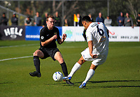Taylor Schrijvers tries to block Cam Howieson's shot during the Oceania Football Championship final (second leg) football match between Team Wellington and Auckland City FC at David Farrington Park in Wellington, New Zealand on Sunday, 7 May 2017. Photo: Dave Lintott / lintottphoto.co.nz