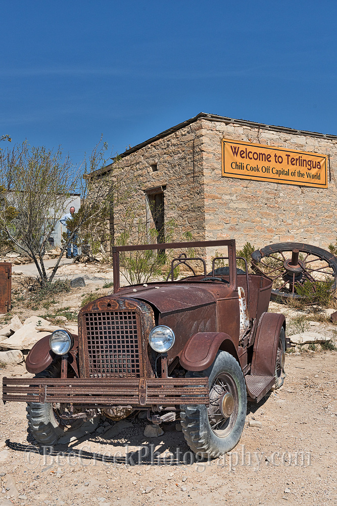 Another piece of jeep art in front of the outdoor restrooms with the sign saying Welcome to Terlingua Chili Cook off Capital of the World.