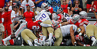 Tulsa Golden Hurricane running back James Flanders (20) is stopped in front of the goal line on fourth down during the first quarter of  an NCAA football game between the Ohio State Buckeyes and the Tulsa Golden Hurricane at Ohio Stadium on Saturday, September 10, 2016. (Columbus Dispatch photo by Fred Squillante)