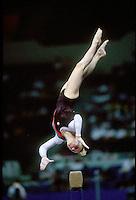 July 19, 1998; New York, NY, USA;  Artistic gymnast Alena Polozkova from Belarus performs on balance beam at 1998 Goodwill Games New York. Copyright 1998 Tom Theobald