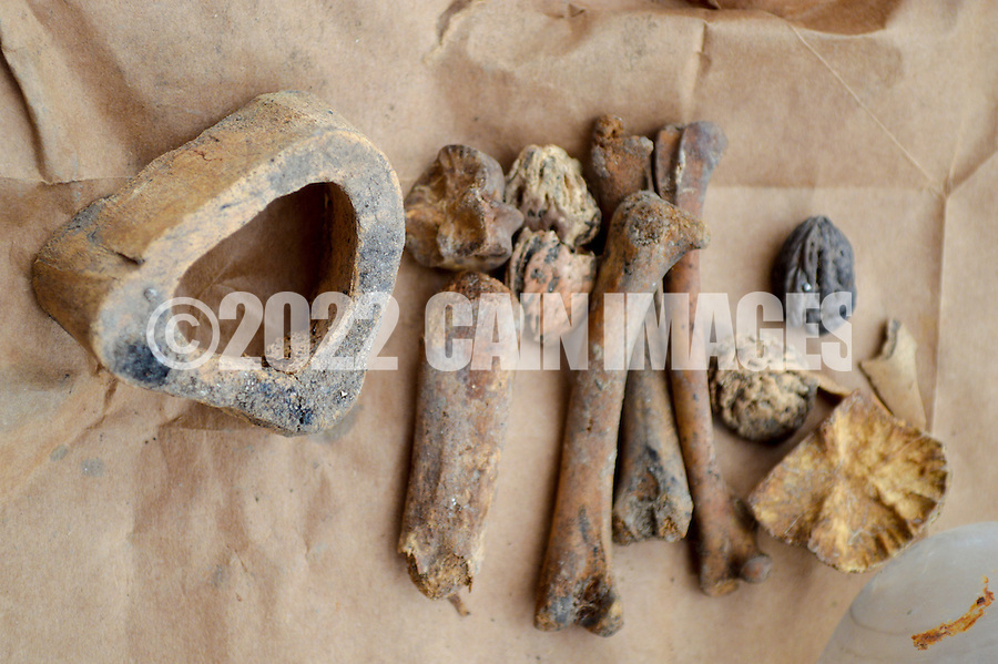 HAZLETON, PA - JUNE 30:  Some artifacts found at the site of an archaeologic dig June 30, 2014 in Hazleton, Pennsylvania. The team is looking through sites connected with the Lattimer Massacre which occurred in 1897. (Photo by William Thomas Cain/Cain Images)