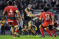 Leroy Houston of Bath Rugby takes on the Toulon defence. European Rugby Champions Cup match, between RC Toulon and Bath Rugby on January 10, 2016 at the Stade Mayol in Toulon, France. Photo by: Patrick Khachfe / Onside Images