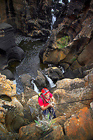 BOURKES LUCK POTHOLES, BLYDE RIVER, SOUTH AFRICA, DECEMBER 2004. Trekking the Blyde River hiking trail one will see great panorama's and lots of waterfalls. South African Nature offers some of the world's best adrenaline sports and outdoor challenges. Photo by Frits Meyst/Adventure4ever.com