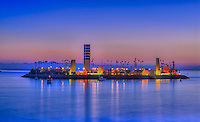 Long Beach; CA; City; Cityscape; Skyline; Sunset; Dusk; Architectural; Office Buildings; Building; California; USA