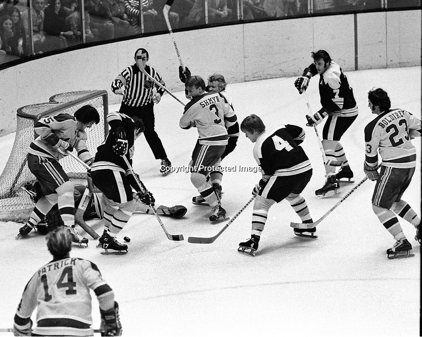 Seals vs. Boston Bruins. (1971 photo) pictured are Seals Carol Vadnais, Paul Shmyr, Craig Patrick and Ivan Boldirev. Bruins Fred Stanfield, Johnny McKenzie .Bobby Orr and Phil Esposito. .Ron Riesterer/photo