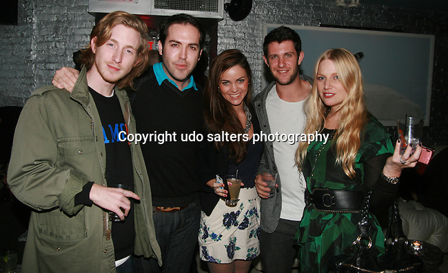 Recording Artist Asher Roth, Brandsway Creative's Tyler Burrow and Rosie Rothrock, Actor Matt Long, Brandsway Creative's Kelly Brady Zegers attend Cosmopolitan Kisses For The Troops Official After-Party Hosted by Lisalla Montenegro At The Polar Lounge In The Marcel At Gramercy, NY