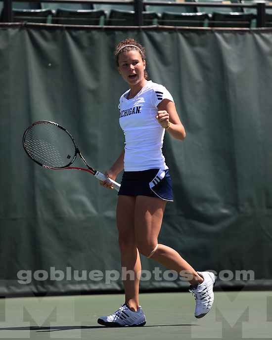 The University of Michigan's Denise Muresan defeated no. 38 Martina Pavelec in three sets during the first round of the 2011 NCAA Singles Championships in Palo Alto, CA, May 25, 2011