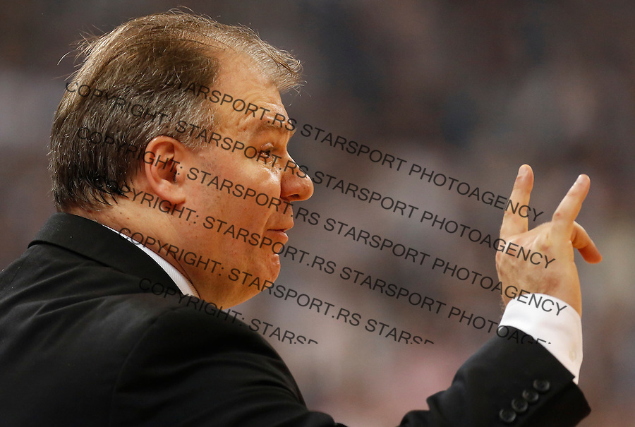 BELGRADE, SERBIA - JANUARY 02: Head coach Velimir Gasic of Partizan reacts during the 2013-2014 Turkish Airlines Euroleague Top 16 game between Partizan Belgrade and Real Madrid at Kombank Arena on January 02, 2014 in Belgrade, Serbia.  (Photo by Srdjan Stevanovic/Getty Images)