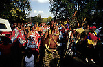Sandile Koza, dances with his relatives outside his family house, during a traditional wedding ceremony on April 20, 2003 in Sandton, South Africa. He married Yolissa Koza, a consultant for an international management consulting company. The couple belongs to a new black elite in the country. They are educated and connected, and has successful careers. They invited about five hundred guest to the exclusive western styled wedding the day before and had a traditional African wedding a day after. (Photo by: Per-Anders Pettersson)......