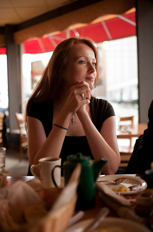 UNITED STATES - FEBRUARY 13:  Elizabeth Kucinich, listens to her husband Rep. Dennis Kucinich, D-Ohio, be interviewed by Roll Call at a restaurant in Lakewood, Ohio.  Kucinich and Rep. Marcy Kaptur, D-Ohio, are running for the OH-09 seat after the state lost two seats due to reapportionment.  (Photo By Tom Williams/CQ Roll Call)