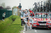 André Greipel (DEU/Lotto-Belisol) about to change bikes on the fly<br /> <br /> Gent-Wevelgem 2014
