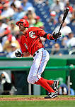 8 June 2008: Washington Nationals' infielder Aaron Boone hits a double against the San Francisco Giants at Nationals Park in Washington, DC. The Nationals dropped the afternoon matchup to the Giants 6-3 in their third consecutive loss of the 4-game series...Mandatory Photo Credit: Ed Wolfstein Photo