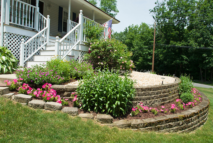 Hillside sloped front garden with tiered raised beds, curb appeal to front porch house entry with roses, petunias, perennial geraniums, American flag, porch, hostas, lawn grass, circular stone walls