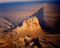 Shiprock at sunset, New Mexico Aerial view  2,000 foot high volcanic neck  Sacred Butte to Navajo people