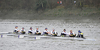 London, Great Britain,   Reading University BC A, rowing past Chiswick Pier, during the 2012 Head of the River Race, raced over Rowing Course Championship course,  Mortlake to Putney  4.25 Miles, on the River Thames.   Saturday  03/03/2012} [Mandatory Credit: © Peter Spurrier/Intersport Images]