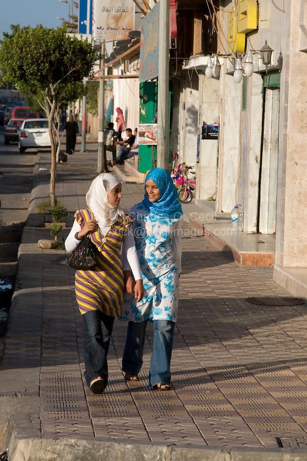 Tripoli, Libya - Street Scene, Young Women Walking, Jeans, Gargaresh District