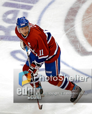6 February 2007: Montreal Canadiens center and team captain Saku Koivu (11) of Finland awaits a pass against the Carolina Hurricanes at the Bell Centre in Montreal, Canada. The Hurricanes went on to defeat the Canadiens 2-1.....Mandatory Photo Credit: Ed Wolfstein *** Editorial Sales through Icon Sports Media *** www.iconsportsmedia.com