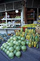 Fruit neatly piled in the Guamilito Market, San Pedro Sula, Honduras