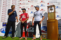 Former winner, Simon Anderson (AUS) with Danny Wills (AUS) and Mick Fanning (AUS) who won the 2001 Rip Curl Pro at Bells Beach, Victoria, Australia. Fanning was a sponsors wildcard and stormed the field, defeating Danny Wills  in the finals. Photo: joliphotos.com