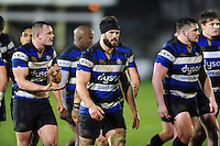 The Bath Rugby team led by Guy Mercer leave the field at half-time. Anglo-Welsh Cup match, between Bath Rugby and Gloucester Rugby on January 27, 2017 at the Recreation Ground in Bath, England. Photo by: Patrick Khachfe / Onside Images