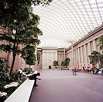 The Robert and Arlene Kogod Courtyard, with its elegant glass canopy, was designed by the world-renowned architectural firm Foster + Partners. It is a signature element of the renovated National Historic Landmark building that houses the Smithsonian American Art Museum and the National Portrait Gallery. The enclosed courtyard provides a distinctive, contemporary accent to the museums' Greek Revival building.
