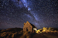 The Church of the Good Shepherd on the shores of Lake Tekapo in New Zealand, is one of the most photographed churches in the world. It's surounded by spectatular natural beauty, and on a clear night the stars and the Milky Way shine brightly above.<br /> <br /> It&rsquo;s certainly not the easiest church to get a clear shot of, especially at night due to the hordes of photographers who jostle for position to get that iconic photo. Fortunately for me this night, I was shooting for a tourist campaign, and was able to get at least part of the view clear for the shoot.