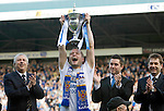 St Johnstone v Morton....02.05.09.Kevin Rutkiewicz lifts the first division trophy.Picture by Graeme Hart..Copyright Perthshire Picture Agency.Tel: 01738 623350  Mobile: 07990 594431