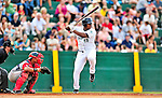 24 July 2010: Vermont Lake Monsters outfielder Kevin Keyes in action against the Lowell Spinners at Centennial Field in Burlington, Vermont. The Spinners defeated the Lake Monsters 11-5 in NY Penn League action. Mandatory Credit: Ed Wolfstein Photo