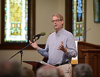NWA Democrat-Gazette/BEN GOFF @NWABENGOFF<br /> Bishop Kenneth H. Carter, Jr., resident Bishop of the Florida Conference of the United Methodist Church, speaks on Sunday April 24, 2016 at First United Methodist Church of Rogers. Carter gave his talk about creation and the stewardship of the Earth as the 10th bi-annual Lewis Lecture series, presented to coincide with Earth Day.