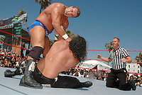 BOUT 2- Chris Masters and Chuck Palumbo wrestle during the WWE SummerSlam weekend in Venice on Saturday, Aug 18, 2007. Chuck Palumbo pinned Masters and won the bout....