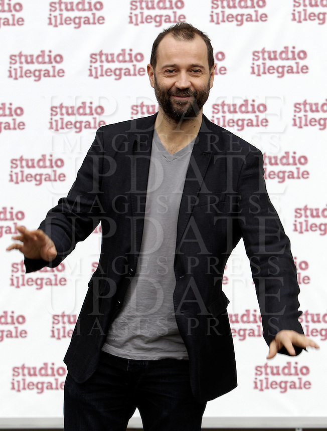 "L'attore Fabio Volo posa durante un photocall per la presentazione del film ""Studio illegale"" a Roma, 5 febbraio 2013..Italian actor Fabio Volo poses during a photocall for the presentation of the movie ""Studio illegale"" in Rome, 5 February 2013..UPDATE IMAGES PRESS/Riccardo De Luca"