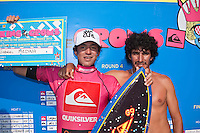GABRIEL MEDINA (BRA)  SEIGNOSSE, France (Tuesday, September 29, 2009) - The last day of the Quiksilver Pro France saw 15-year-old Brazilian wonder kid, GABRIEL MEDINA  (BRA) winning the Quiksilver World King Of the Groms Finals in historic style. Medina defeated fellow Brazilian CAIO IBELLI (BRA) when he scored a maximum possible 20-point combined heat score in the final in an unbelievable display of surfing talent. The two perfect 10-point scores were given by the judges, which rewarded Medina's incredible technical ability. Few surfers in the world today can boast such a repertoire of aerial manoeuvres, even fewer can perform this level of surfing heat after heat in a competition environment... ..Medina combined two or more aerial reverses, aerial 360's or 'superman' manoeuvres on the same wave, all day long. Having scored another 10-point ride in his first quarterfinal heat of the day his intention was clear. It would seem the unassuming Medina would be the man to beat, and the man to take home the prestigious prize of Wild Card entries into the ASP World Tour events of the Quiksilver Gold Coast and the Quiksilver Pro France in 2010. Photo: joliphotos.com