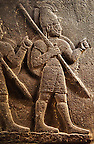 Picture of Neo-Hittite orthostat with releif sculpture of 3 soldiers from the legend of Gilgamesh from Karkamis,, Turkey. Ancora Archaeological Museum.