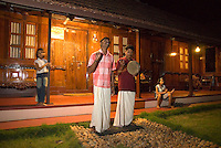 Aleppey, Alappuzha, Kerala, India, April 2008. Homestay accomodation at  Emerald Isle<br /> is accompanied by live music and cultural performances. The backwaters of Kerala are reknowned for its rich culture. The most adventurous way to explore them is by kayak. We joined Kalypso Adventures for our adventure. Photo by Frits Meyst/Adventure4ever.com