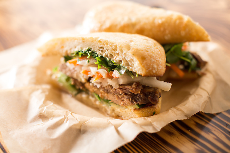 Raleigh, North Carolina - Friday March 4, 2016 - The Bahn Mi sandwhich at Linus & Peppers in Raleigh.