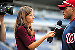 28 September 2010: Washington Nationals' sideline reporter for MASN Debbi Taylor interviews catcher Ivan Rodriguez prior to a game against the Philadelphia Phillies at Nationals Park in Washington, DC. The Nationals defeated the Phillies 2-1 on an Adam Dunn walk-off solo homer in the 9th inning to even up their 3-game series one game apiece. Mandatory Credit: Ed Wolfstein Photo