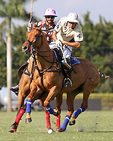WELLINGTON, FL - FEBRUARY 05:  Diego Cavanaugh #4 of Valiente II takes the ball down the field, as Facundo Pieres #3 of Orchard Hill is in pursuit, during one of the early matches of the Ylvisaker Cup at the International Polo Club Palm Beach on February 05, 2017 in Wellington, Florida. (Photo by Liz Lamont/Eclipse Sportswire/Getty Images)