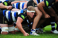 Tom Ellis of Bath Rugby looks on at a scrum. Pre-season friendly match, between the Scarlets and Bath Rugby on August 20, 2016 at Eirias Park in Colwyn Bay, Wales. Photo by: Patrick Khachfe / Onside Images