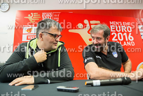 Goran Cvijic, secretary general of RZS and Veselin Vujovic, head coach of Slovenia during press conference of Team Slovenia on Day 1 of Men's EHF EURO 2016, on January 15, 2016 in Hotel Mercure Wrocław Centrum, Wroclaw Poland. Photo by Vid Ponikvar / Sportida
