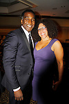 """Norm Lewis """"Keith McLean"""" on All My Children poses with Rain Pryor as they both perform - Norm singing and Rain in her own play """"Fried Chicken and Latkes"""" at The National Black Theatre Festival with a week of plays, workshops and much more with an opening night gala of dinner, awards presentation followed by Black Stars of the Great White Way followed by a celebrity reception. It is an International Celebration and Reunion of Spirit. (Photo by Sue Coflin/Max Photos)"""