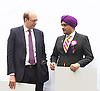 UKIP <br /> General Election 2015 <br /> launch in Smith Square, Westminster, London, Great Britain <br /> 30th March 2015 <br /> <br /> Mark Reckless <br /> talks to Sergi Singh, has been unveiled as the new UKIP candidate for Hull North.<br /> <br /> <br /> Photograph by Elliott Franks <br /> Image licensed to Elliott Franks Photography Services