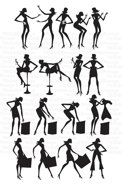 Female youth in various poses