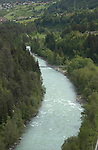 The river Inn flowing through Imst district, Tyrol, Tirol, Austria.
