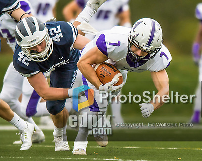 8 October 2016: Amherst College Purple & White Wide Receiver Devin Boehm, a Senior from Wilmette, IL, is chased down by Middlebury College Panther Linebacker Clay Hunt, a Sophomore from Old Brookville, NY, at Alumni Stadium in Middlebury, Vermont. The Panthers edged out the Purple & While 27-26. Mandatory Credit: Ed Wolfstein Photo *** RAW (NEF) Image File Available ***