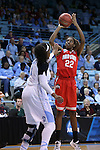 23 March 2015: Ohio State's Alexa Hart (22) and North Carolina's Stephanie Mavunga (1). The University of North Carolina Tar Heels hosted the Ohio State University Buckeyes at Carmichael Arena in Chapel Hill, North Carolina in a 2014-15 NCAA Division I Women's Basketball Tournament second round game. UNC won the game 86-84.