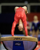 Sarah Finnegan of Gage competes on the vault during the 2012 US Olympic Trials competition at HP Pavilion in San Jose, California on June 29th, 2012.