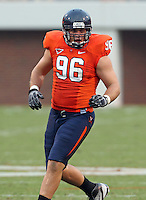 Sept. 3, 2011 - Charlottesville, Virginia - USA; Virginia Cavaliers defensive tackle Nick Jenkins (96) during an NCAA football game against William & Mary at Scott Stadium. Virginia won 40-3. (Credit Image: © Andrew Shurtleff