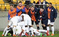 Wellington, New Zealand - June 10, 2015: The USMNT U-20 defeat Columbia 1-0 advancing out of round of 16 to reach the quarter finals during the FIFA U-20 World Cup at Wellington Regional Stadium.